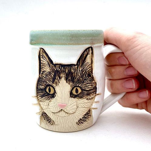 Cat Face Pottery Mug, Handcarved, Wheel thrown Handmade Ceramic