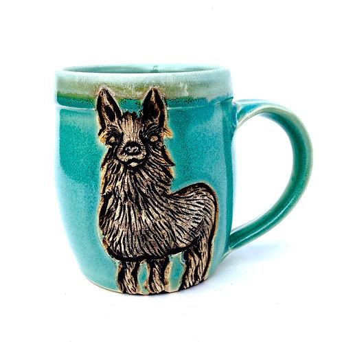 PREORDER Llama Pottery Mug, Handcarved Ceramic cup, Handmade Wheel thrown