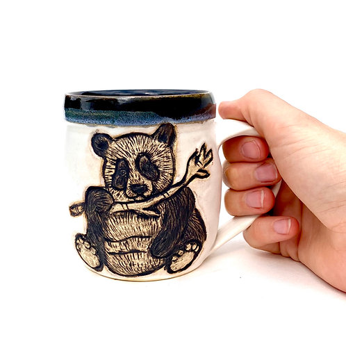 Panda Pottery Mug, Handcarved Ceramic cup, Handmade Wheel thrown