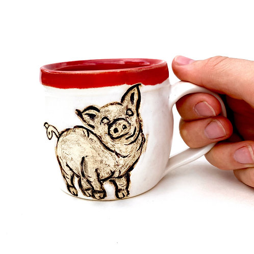 Pig Pottery Mug Small, Handcarved Ceramic cup, Handmade Wheel thrown