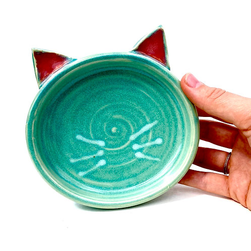 Turquoise Pottery Cat Dish, Handmade Elevated Bowl, Cat Ears T03