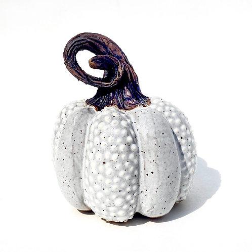 White Pottery Pumpkin, Handmade Sculpted Pumpkin, Fall Decor, W05