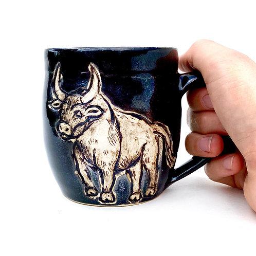 Taurus Zodiac Pottery Mug, Horoscope Ceramic cup, Astrology Sign