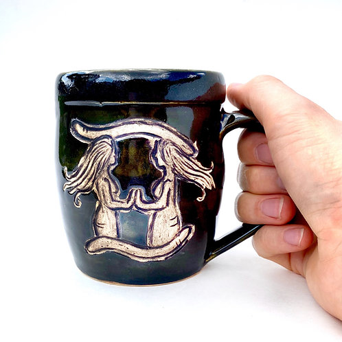 Gemini Zodiac Pottery Mug, Horoscope Ceramic cup, Astrology Sign