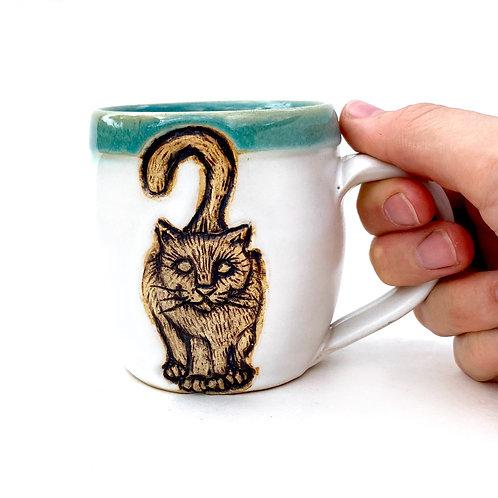 Cat Pottery Mug Small, Handcarved, Wheel thrown Handmade Ceramic