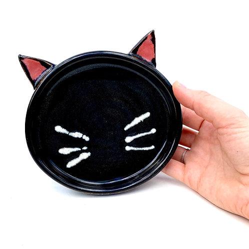 Black Pottery Cat Dish, Handmade Elevated Bowl, Cat Ears Bd02