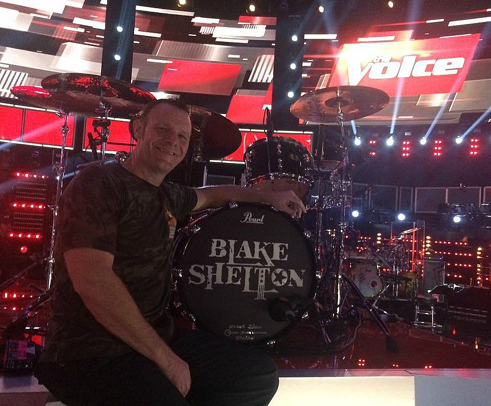 Tracy Broussard at The Voice with his kit & his Beier 1.5 Steel--6.5 x 14....