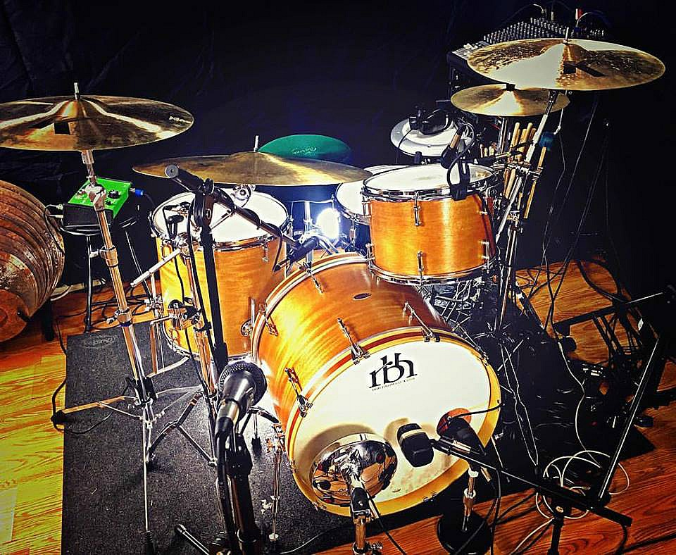 Mike Dawson's kit in the studio in New York with his go-to snare-Beier 1.5 Steel--5.5 x 15....