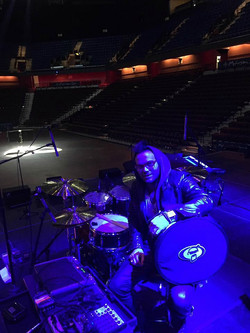 Drew McKeon-Mohegan Sun Arena with Michael Bolton & his main touring snare-1.5 Steel--5.5 x 14...~