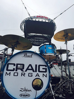 Russ Whitman's kit-Craig Morgan 2016 Tour-1.5 Steel--6.5 x 14, 6.5 x 13, 5.5 x 14..