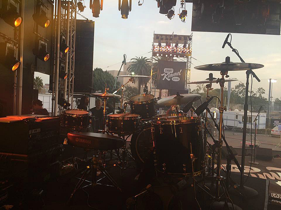 Afternoon view-Tracy Broussard's kit for live performance with Blake Shelton-Jimmy Kimmel Live-1.5 S