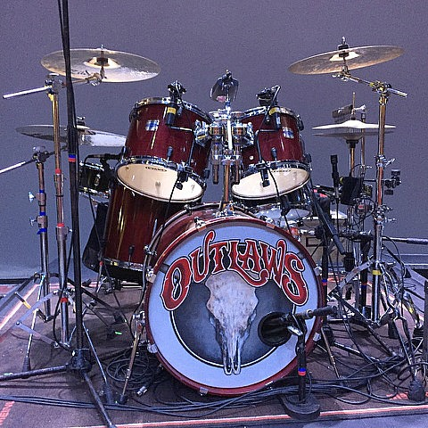 Monte Yoho's kit-The Outlaws-Lyric Theatre-Stuart, Florida-Beier 1.5 Steel--6.5 x 14, 5.5 x 14....