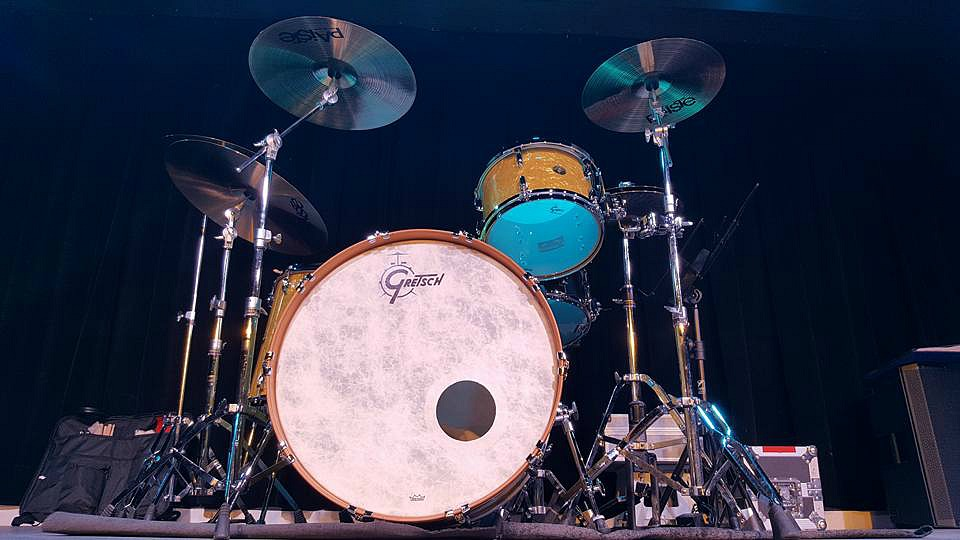 Chad Melchert's (Gord Bamford) Gretsch Broadkaster kit with his main-Beier 1.5 Steel--6.5 x 14.....