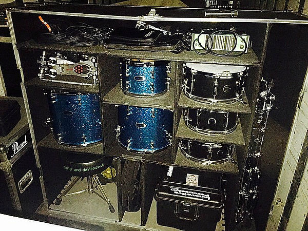 Russ Whitman's drum case packed and read