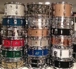 Snare drum collection of Brad Elvis (The Romantics, The Handcuffs) with four Beier Drums-