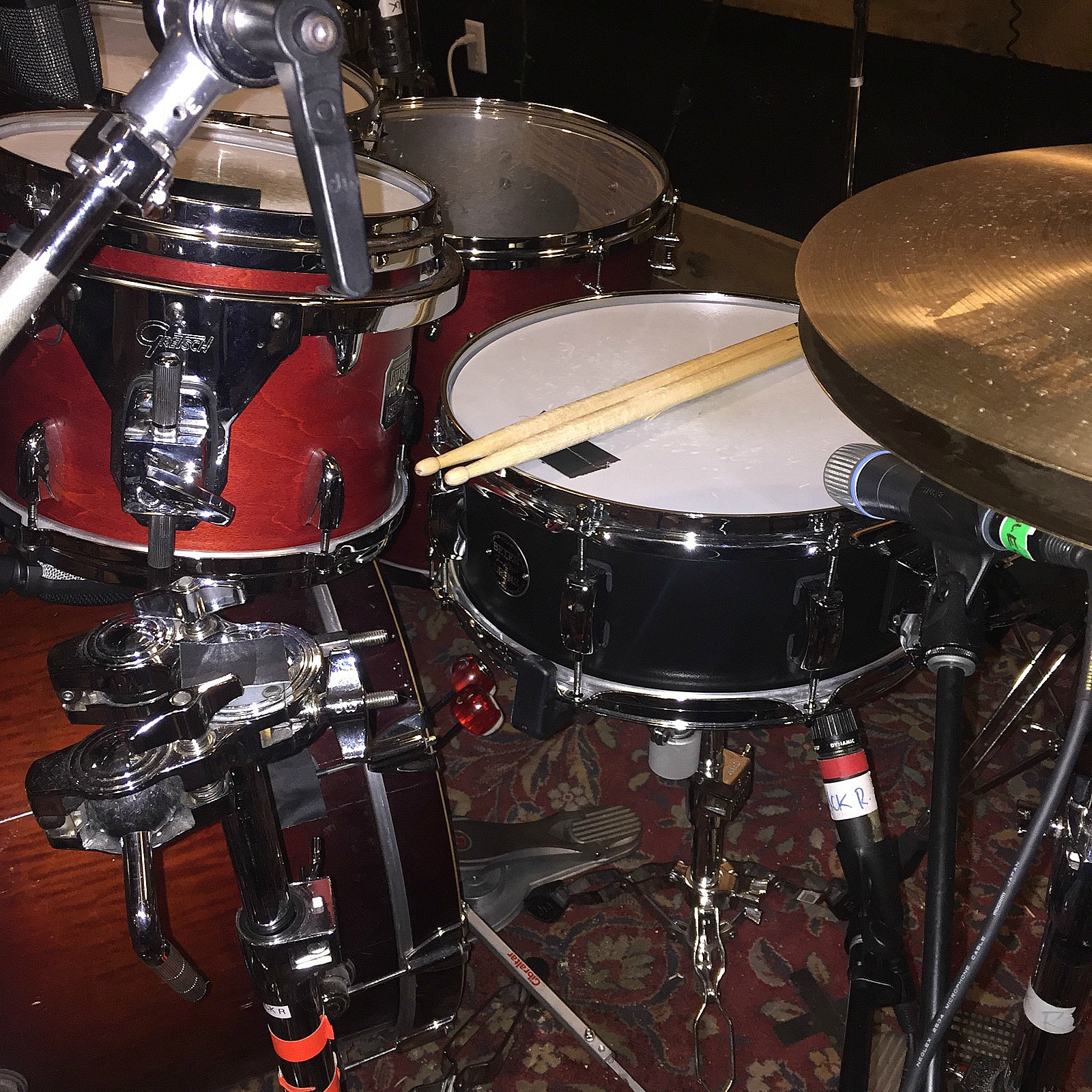Jarred Pope's kit at Rock Falcon Studio  for a new Damon Johnson record...Beier 1.5 Steel--5.5 x 14~