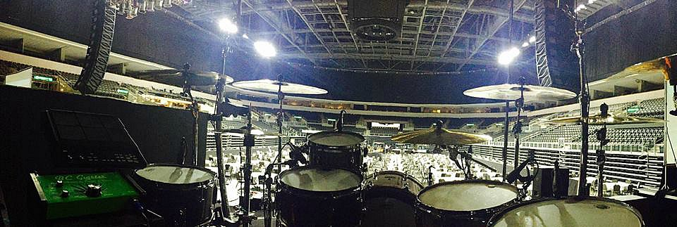View behind Russ Whitman's kit-Live with Craig Morgan-Beier 1.5 Steel--5.5 x 14, 6.5 x 13, & 6.5 x 1