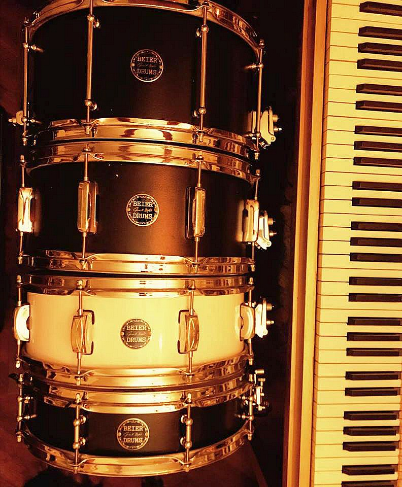 Bobby MacIntyre's (Studio 71) four Beier 15 inch snare drums-4, 5.5, 6.5 & 7.5 x 15....
