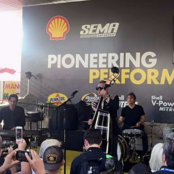 Larry Mitchell live with The Stray Cat Lee Rocker with his Beier 1.5 Steel--4 x 15... SEMA Show in 2