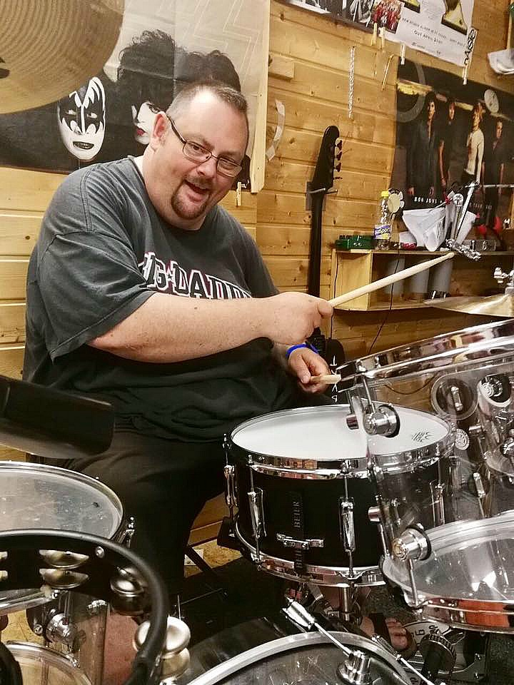 Jochen Bauer rehearsing for his new project-Heavens A Beer-Germany-Beier 1.5 Steel--6.5 x 14....