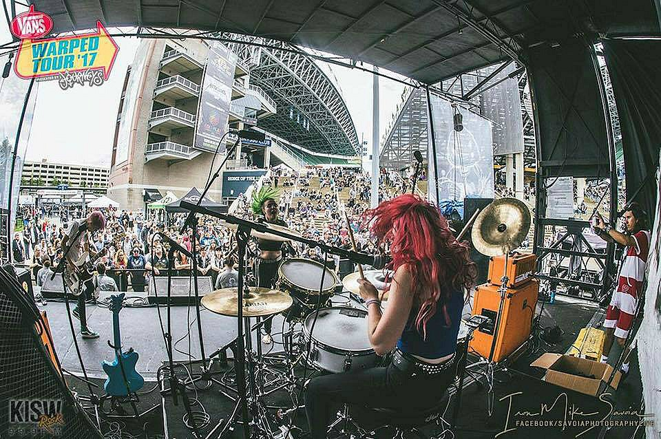 Meghan Herring live on the Warped Tour '17-Doll Skin-Beier 1.5 Steel--5.5 x 15. Image by Mike Savoia