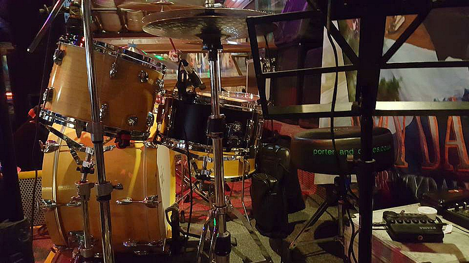 Another shot of Chad Melchert's vintage Gretsch kit & his Beier 1.5 Steel-6.5 x 14-Ranchman's-Canada