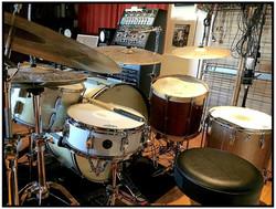 Erik Eldenius (Billy Idol) in the the studio-Beier 1.5 Steel Snare--5.5 x 15-Gloss White-