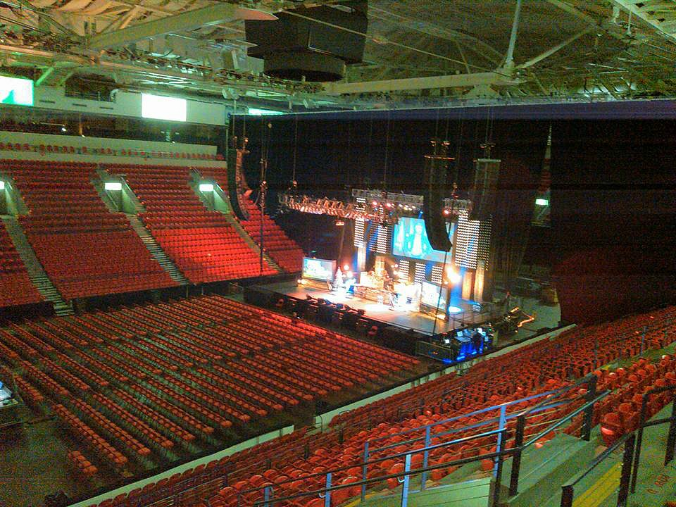 At sound check with Mike Zimmerman for Kenny Rogers-Resch Center-1.5 Steel--6.5 x 14~