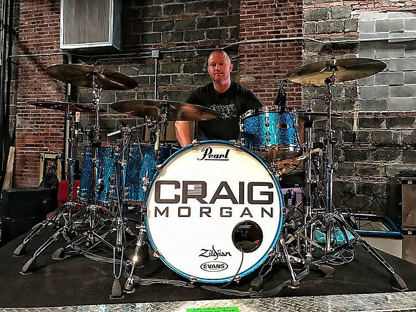 Russ Whitman with his live Pearl kit for