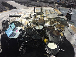 Tracy Broussard's kit-Another view-Live with Blake Shelton-2016-OK.-Beier 1.5 Steel Snare--6.5 x 14.