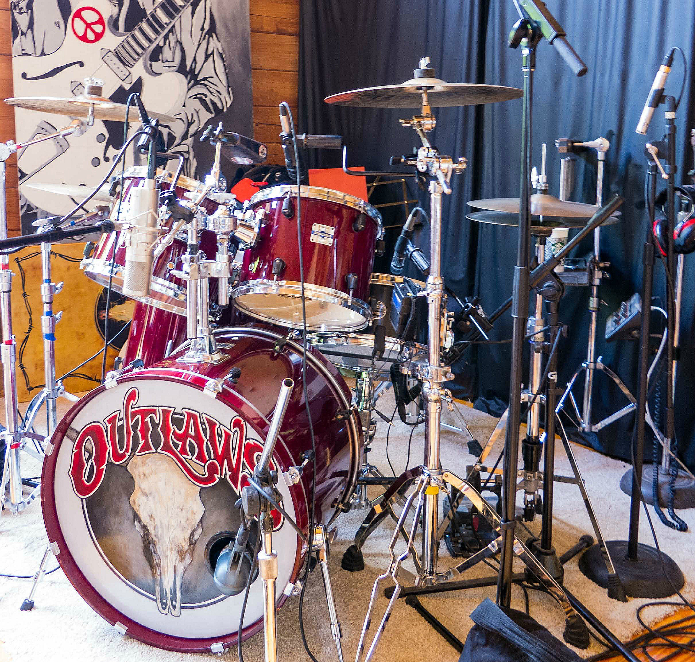 Monte Yoho's kit in the studio for an upcoming Outlaws album-Summer 2017-Beier 1.5 Steel--6.5 x 14..