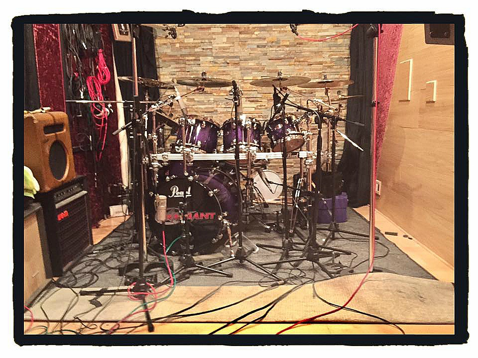 Steven Sweet's kit in the studio with one his several Beier Snare Drums-New Warrant record-11-29-16~