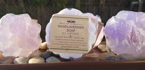 Sage/Lavendar Stone Embedded Soap