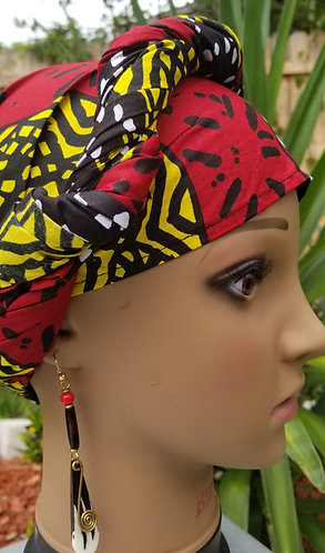 Red,black and yellow headwrap and earring set