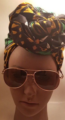 Black, yellow and green headwrap