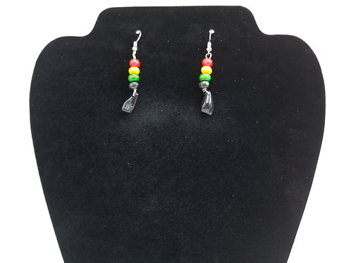 Red ,yellow, green fist earrings