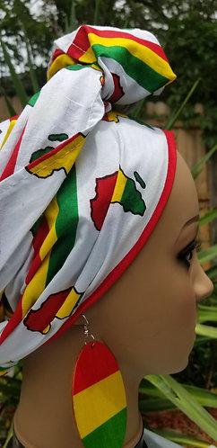 African map white head wrap and earring set