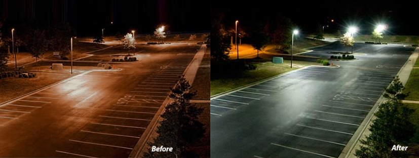 Parking Lot image showing before and after LED upgrade