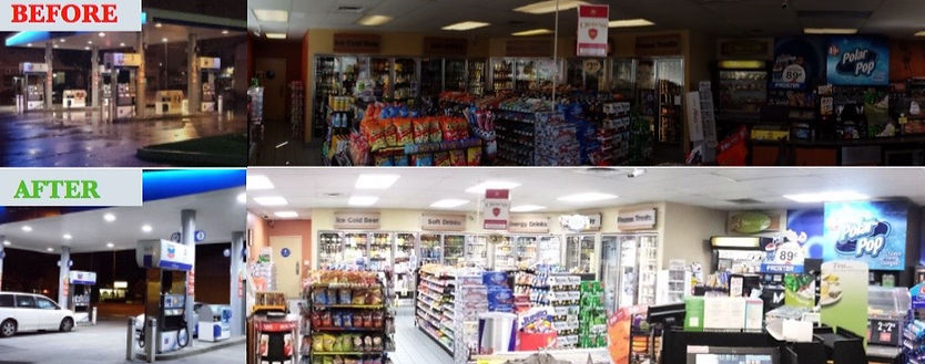 Mini Mart and Gast Station picture before and after LED upgrade