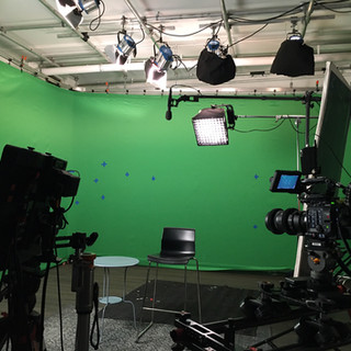 A&E using markers on our green screen for their shoot