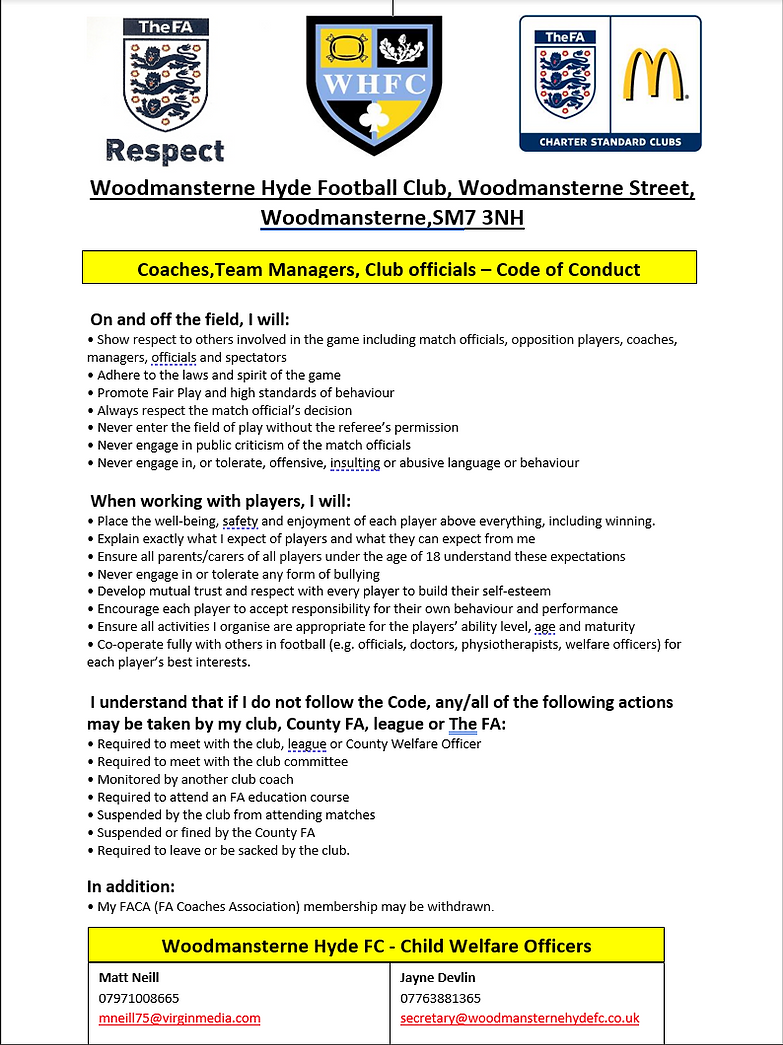 Coaches, Team Managers & Club Officials