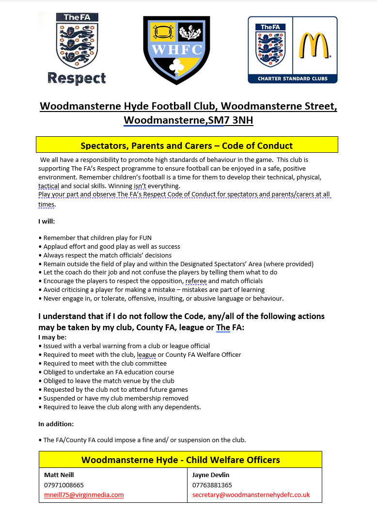 Spectators, Parents and Carers - Code of