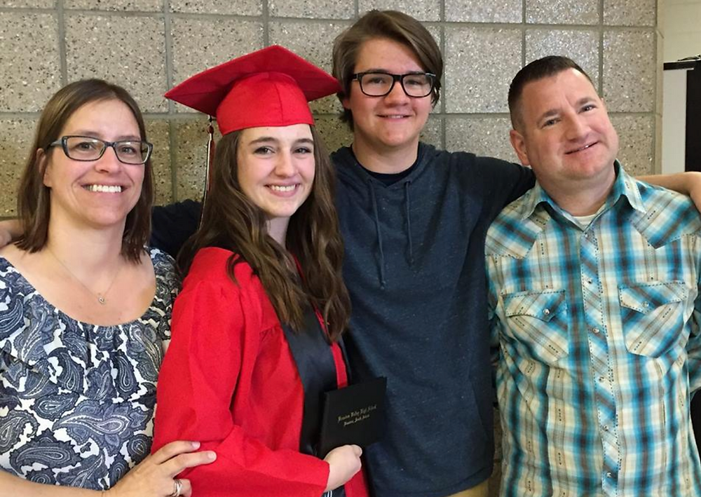 Mom (Tera), Carly, Will, and Dad (Chad) at Carly's high school graduation in Brandon, SD.