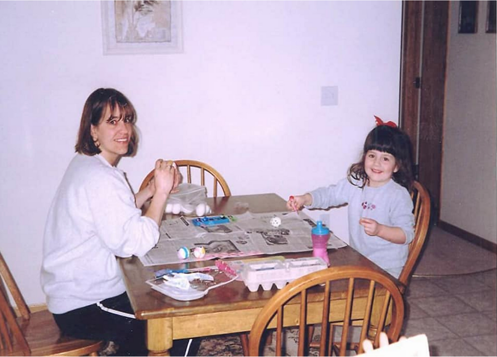 Carly and Mom (Tera) dying Easter eggs.