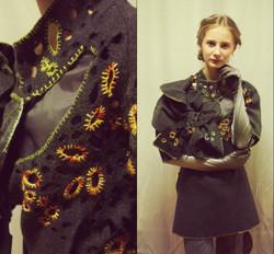 1 Лагунова Елена (14 лет),Перфорированные жилеты из драпа от старого пальто, декорированные вышивкой