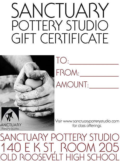 Gift Certificate for one, four-week Class and Clay Fee