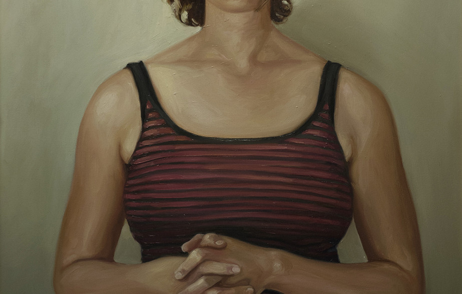 """Oil on canvas48x242003  It is said, """"The eyes are the mirror to the soul.""""  When I first met the woman in this painting she looked at me as if evaluating my entire life with a glance.  At that moment I knew that her deep green peering eyes were judging me all the way down to my soul."""