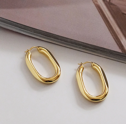 Oval Bright Gold Hoops