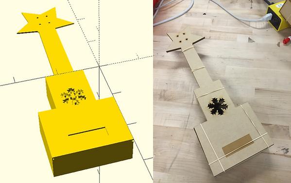 Ukulele CAD representation and fabricated laser cut model