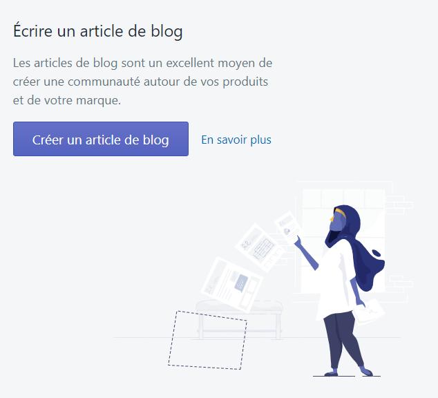 Menu Shopify : Créer un article de blog